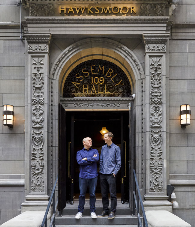 Will and Huw standing on the steps of Hawksmoor New York